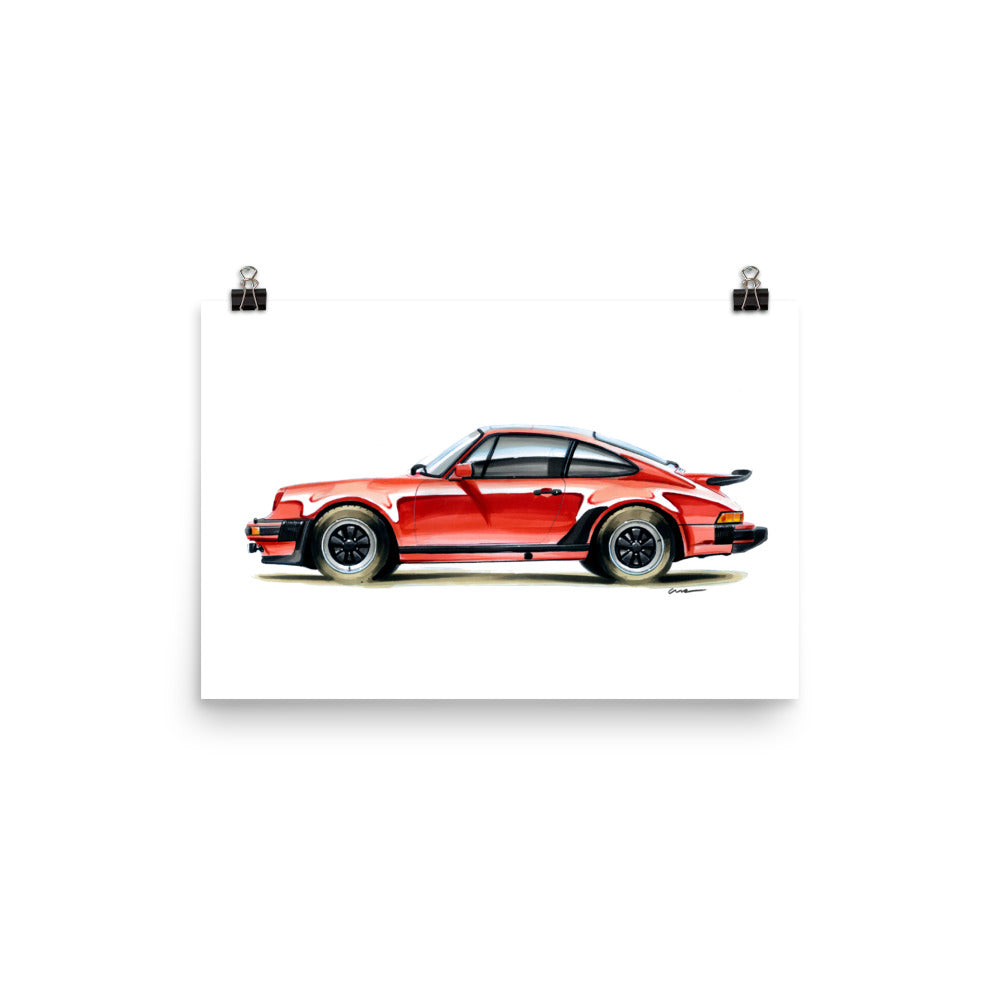 Classic 911 Poster [Red] | Reproduction of Original Artwork by Our Design Team - MAROON VAULT STUDIO