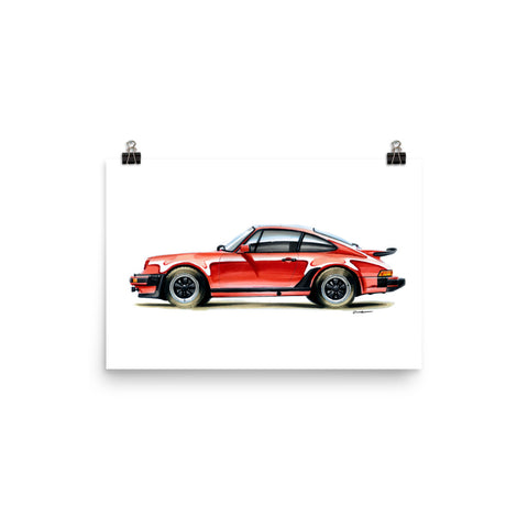 Classic 911 - Red | Poster - Reproduction of Original Artwork by Our Designers - MAROON VAULT STUDIO