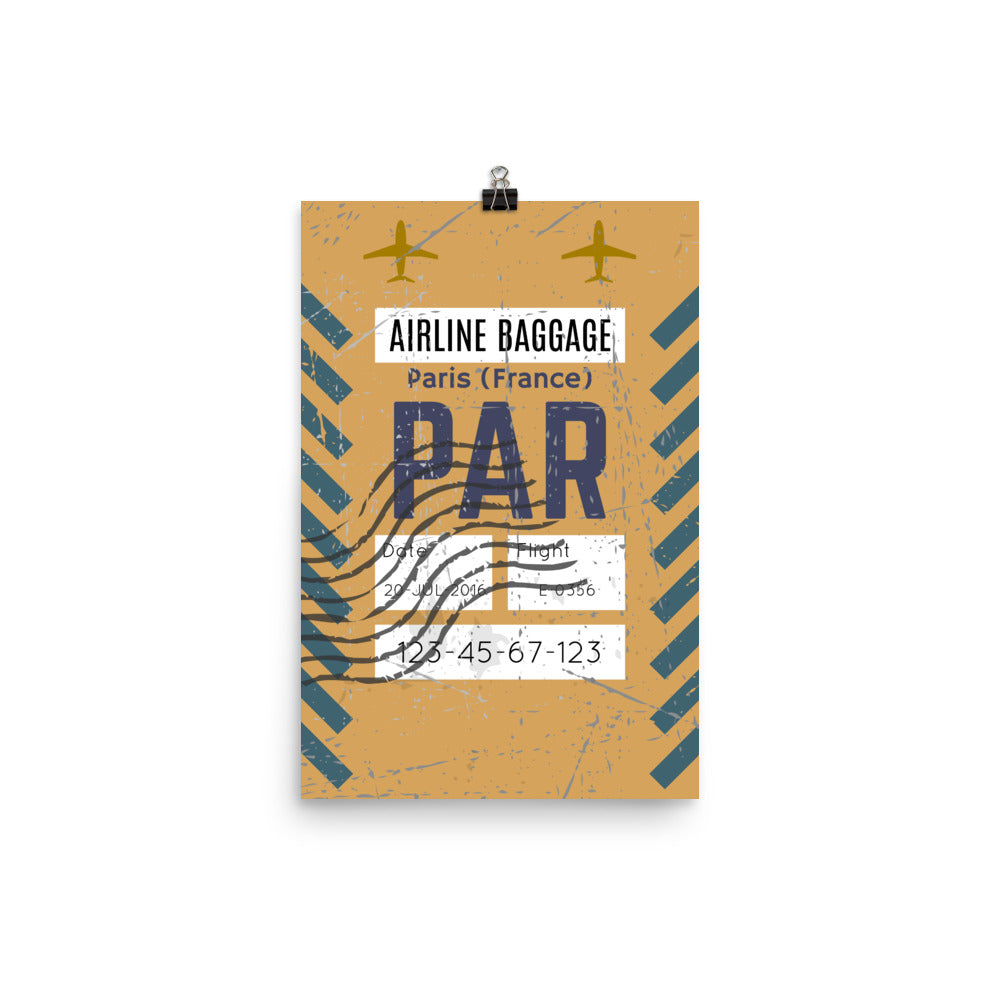 Paris Luggage Tag | Poster - Photo Quality Paper - MAROON VAULT STUDIO