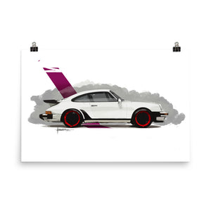 Classic 911 - White | Poster - Reproduction of our Original Artwork by Our Designers - MAROON VAULT STUDIO