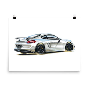 Cayman GT4 | Poster - Reproduction of Original Artwork by Our Designers - MAROON VAULT STUDIO