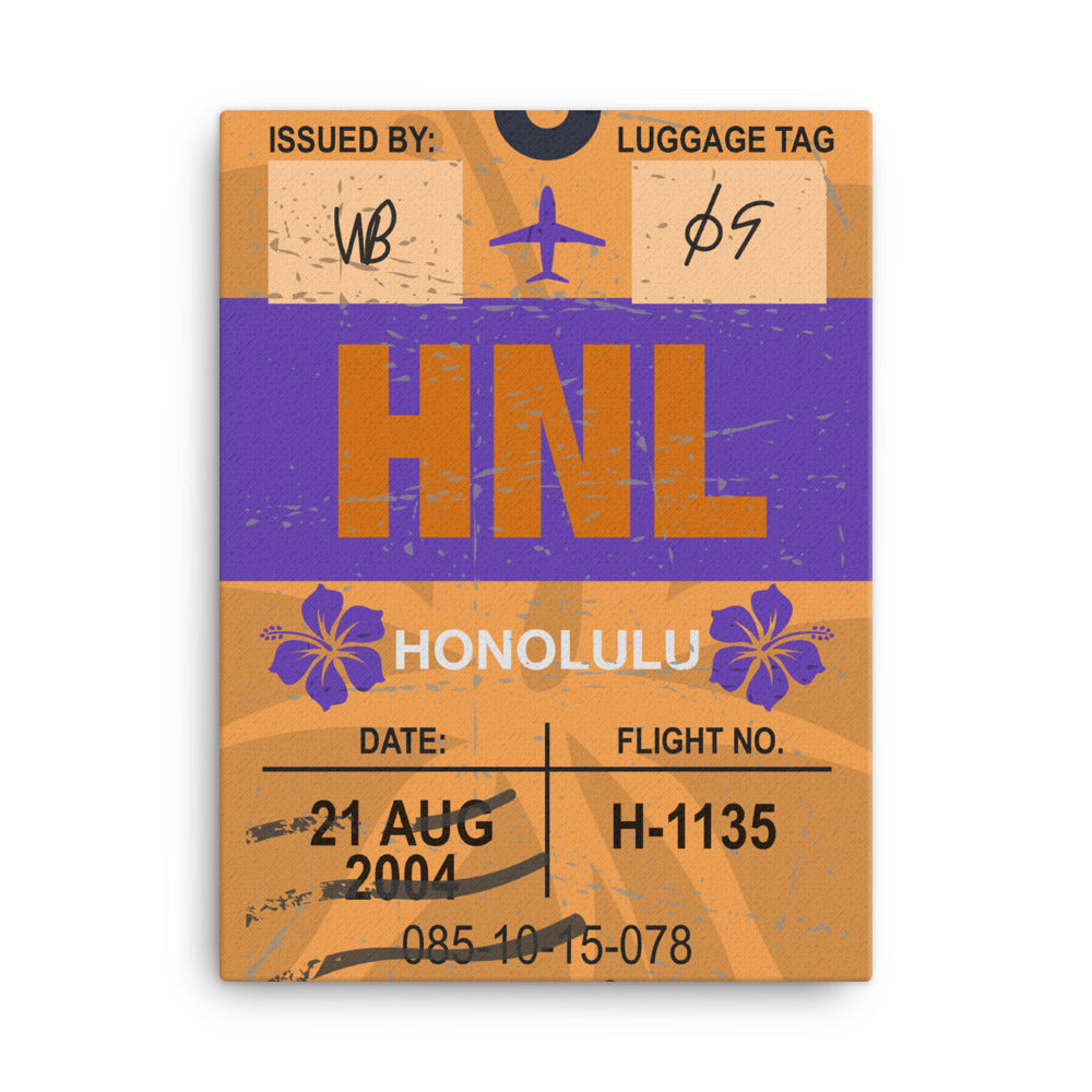 Honolulu Luggage Tag | Canvas Print - MAROON VAULT STUDIO