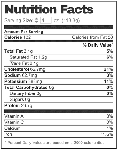 grass-fed ny strip steak nutrition facts label