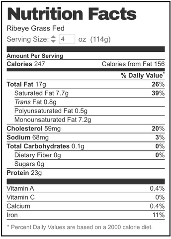 grass-fed ribeye steak nutrition facts label