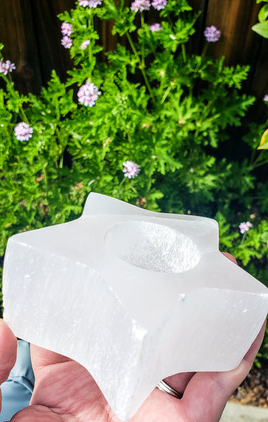 Selenite Star Candle Holders - WHYTE QUARTZ