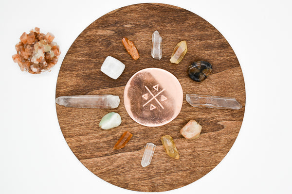 NEW Handmade ELEMENTS Crystal Grid with Copper Plate and Crystals - WHYTE QUARTZ