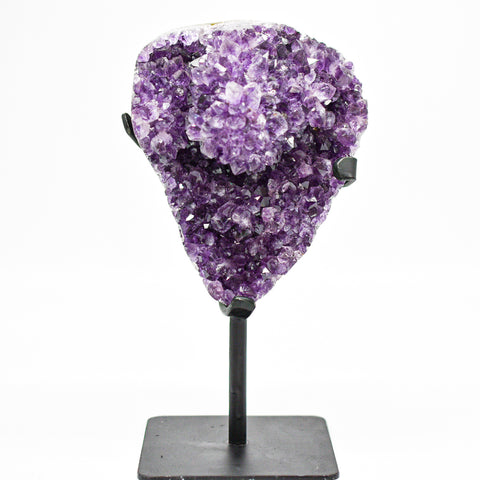 Gorgeous Dark Amethyst Display Piece on Metal Stand - WHYTE QUARTZ