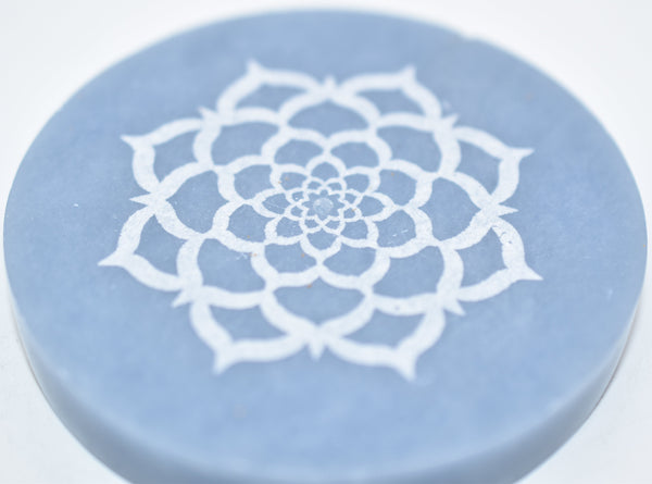 Angelite Lotus Flower Engraved Circle Incense Holder - WHYTE QUARTZ