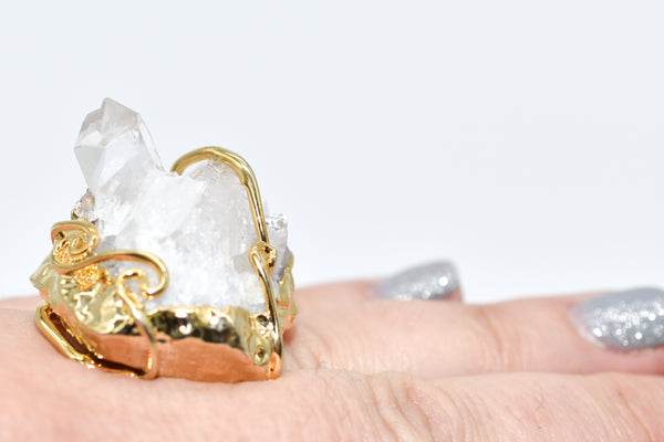 Gold Dipped Crystal Druzy Ring - WHYTE QUARTZ