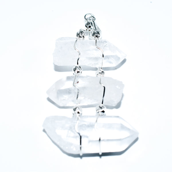 3 Crystal Point Wire Wrapped Pendant - WHYTE QUARTZ
