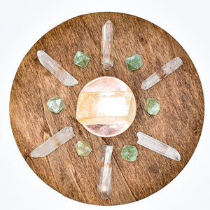 NEW Handmade LOVE Crystal Grid with Copper Plate and Crystals - WHYTE QUARTZ