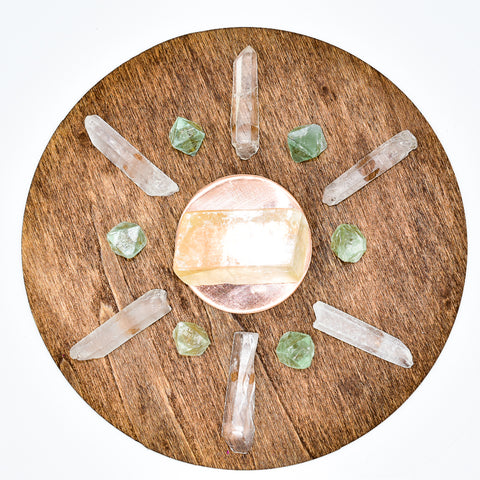 NEW Handmade LOVE Crystal Grid with Copper Plate and Crystals