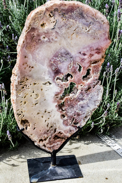 Huge Pink Amethyst Slab Display Piece on Metal Stand