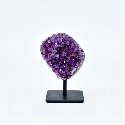 Natural Amethyst Druzy Polished on Metal Base