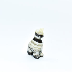 Mini Zebra Onyx Cat Statues