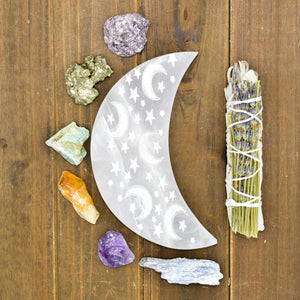 Celestial Engraved Crescent Moon Selenite Plate
