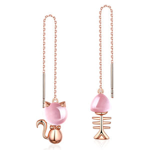 Rose Gold Cat Fish Bone Threader Earrings - WHYTE QUARTZ