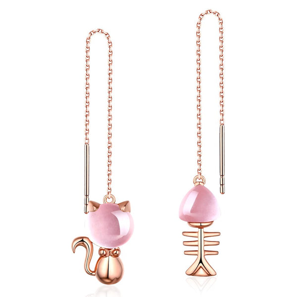 NEW! Rose Gold Cat Fish Bone Threader Earrings