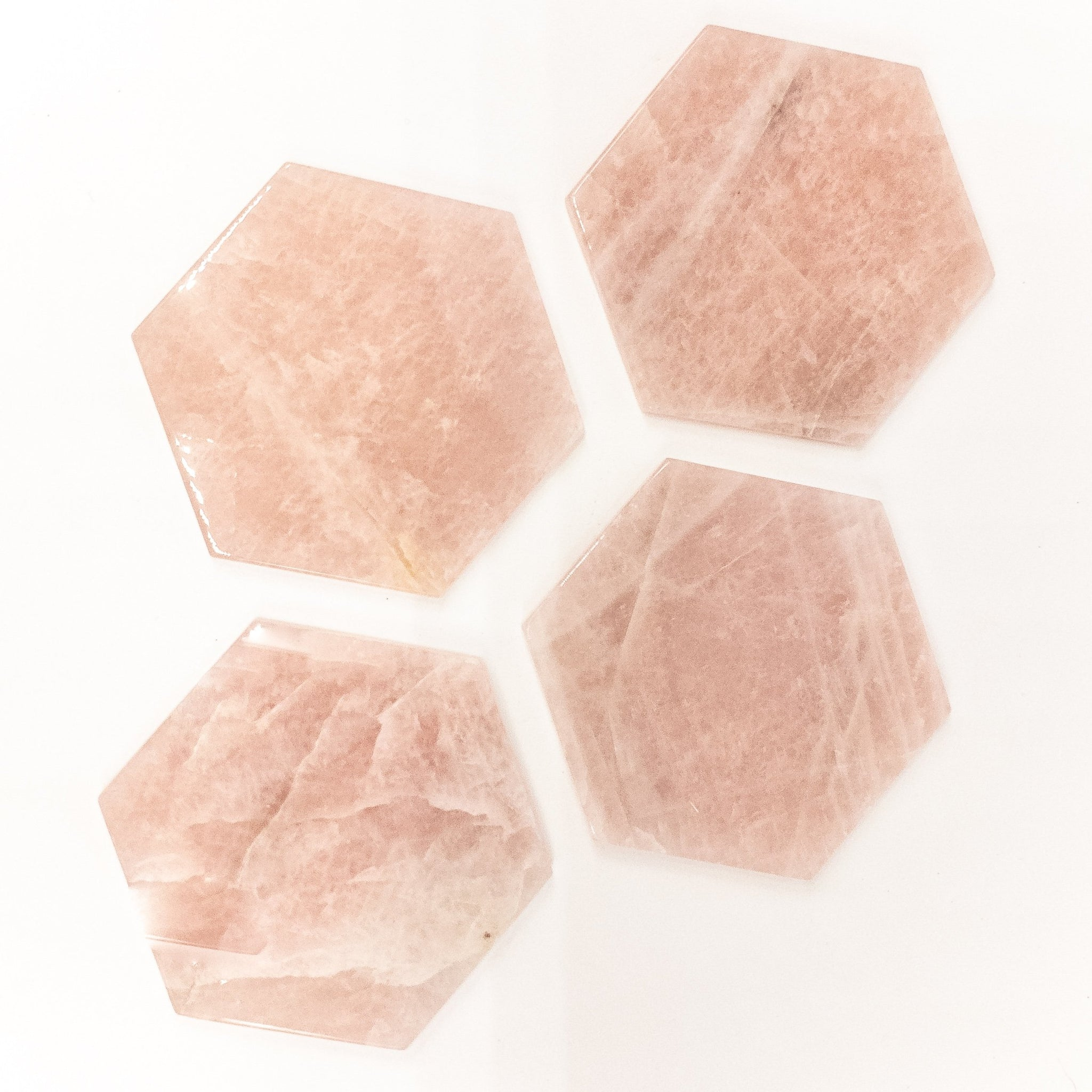 Hexagon Rose Quartz Coasters Set of 4 - WHYTE QUARTZ