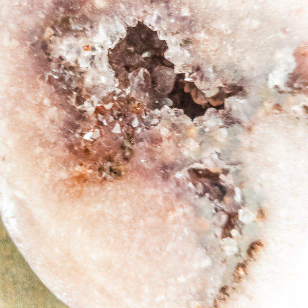 Pink Amethyst Druzy Large Cat Head - WHYTE QUARTZ