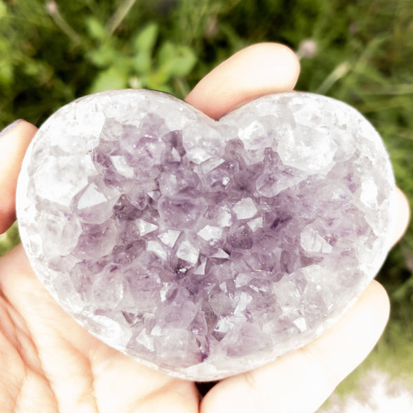 Amethyst Druzy Hearts semi polished rough base-B