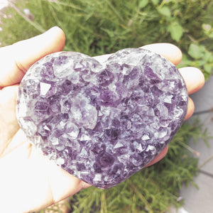 Amethyst Druzy Hearts semi polished rough base C