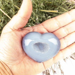 Small Puffy Agate Heart with Druzy Center - WHYTE QUARTZ