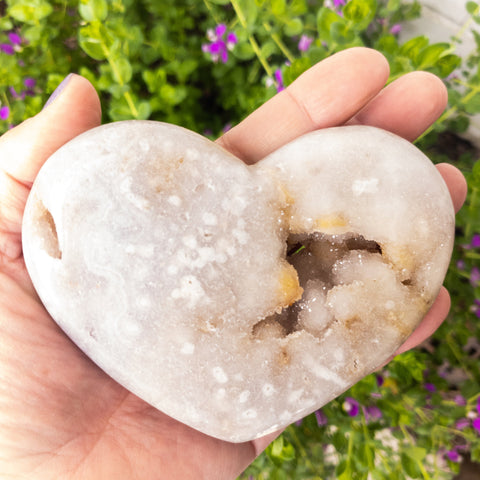 Pink Amethyst Heart with Druzy - WHYTE QUARTZ