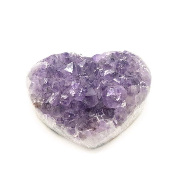 Amethyst Druzy Hearts semi polished rough base-A