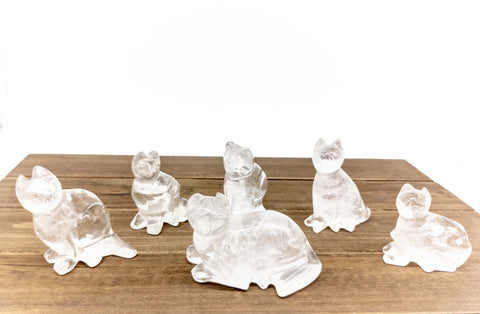 Clear Quartz Cat Statues