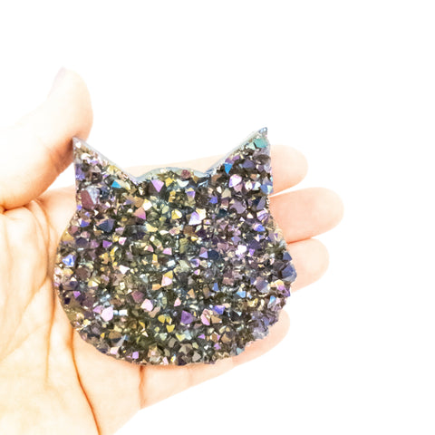 NEW! Medium sized titanium coated amethyst druzy cat head