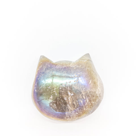 Aura Smokey Quartz Cat Head