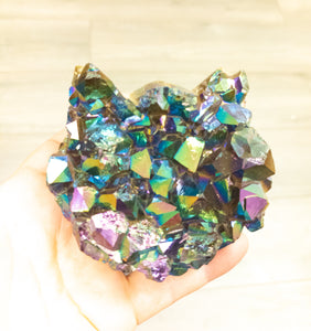 Extra Large Titanium Coated Amethyst Druzy Cat Head - WHYTE QUARTZ