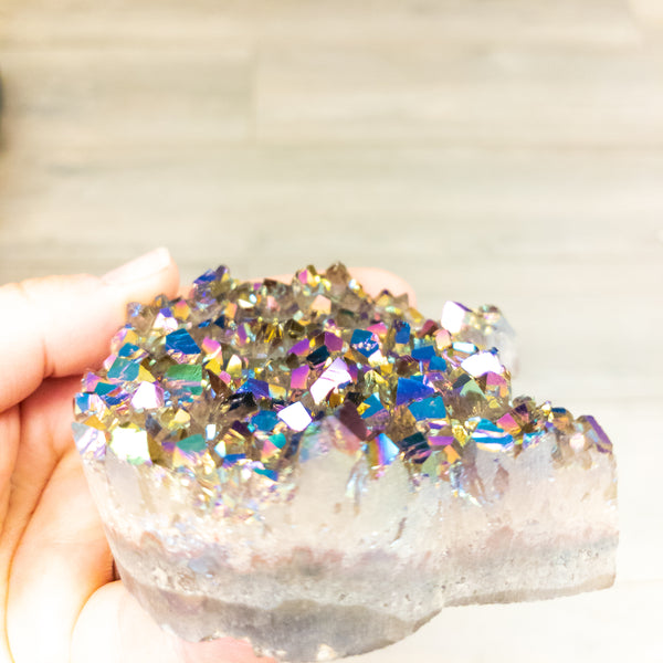 NEW! Med-large sized titanium coated amethyst druzy cat head