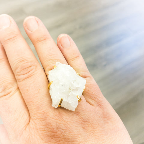 Druzy Crystal Ring - WHYTE QUARTZ