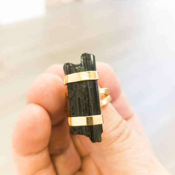 Black Tourmaline Ring - WHYTE QUARTZ