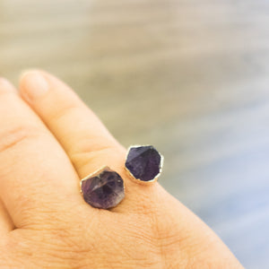 Amethyst and Citrine Double Stone Rings