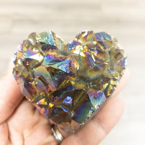 Rainbow Amethyst Druzy Heart-Medium