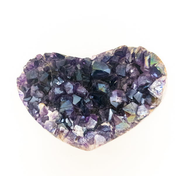 Extra Large Polished Grade A Amethyst Druzy Heart with Angel Aura - WHYTE QUARTZ