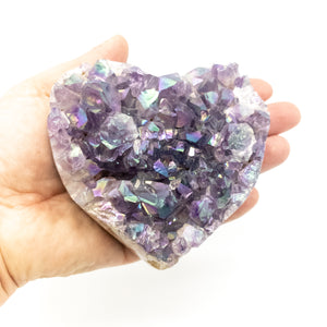 Extra Large Polished Amethyst Druzy Heart with Angel Aura - WHYTE QUARTZ