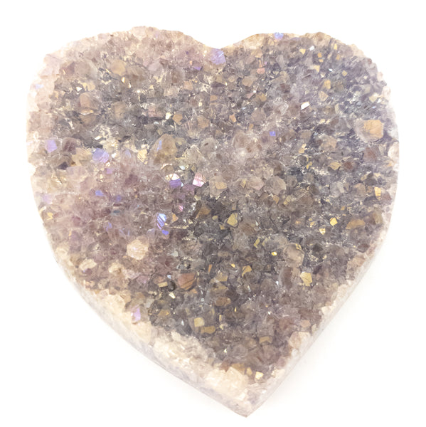 Large Polished Amethyst Druzy Heart with Angel Aura - WHYTE QUARTZ