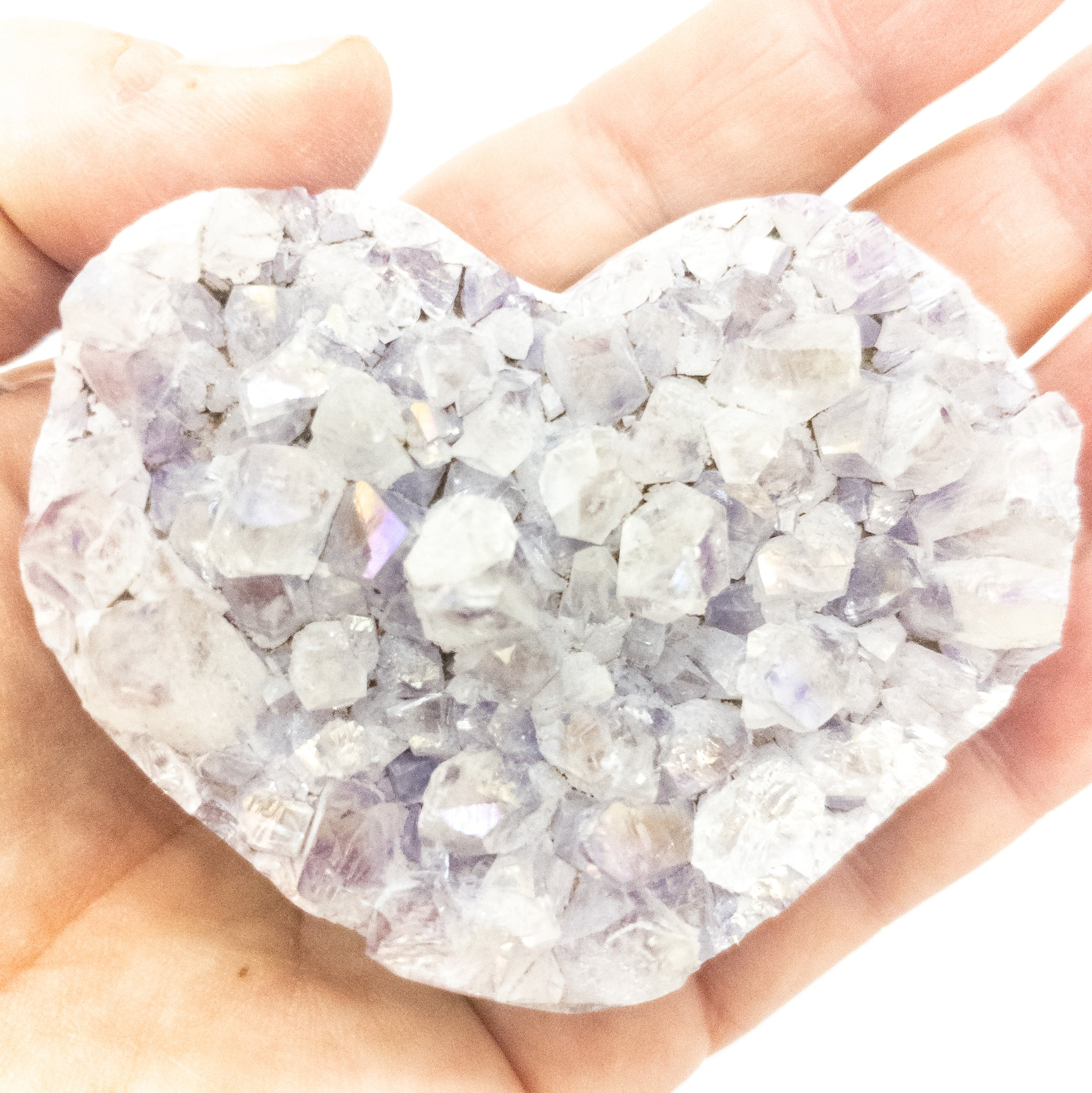 Medium Polished Amethyst Druzy Heart with Angel Aura - WHYTE QUARTZ