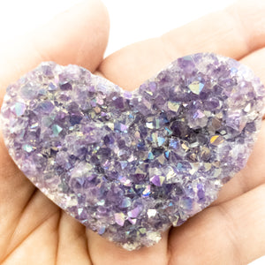 Polished Amethyst Druzy Heart with Angel Aura - WHYTE QUARTZ