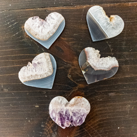 Large Heart Shaped Amethyst Slices