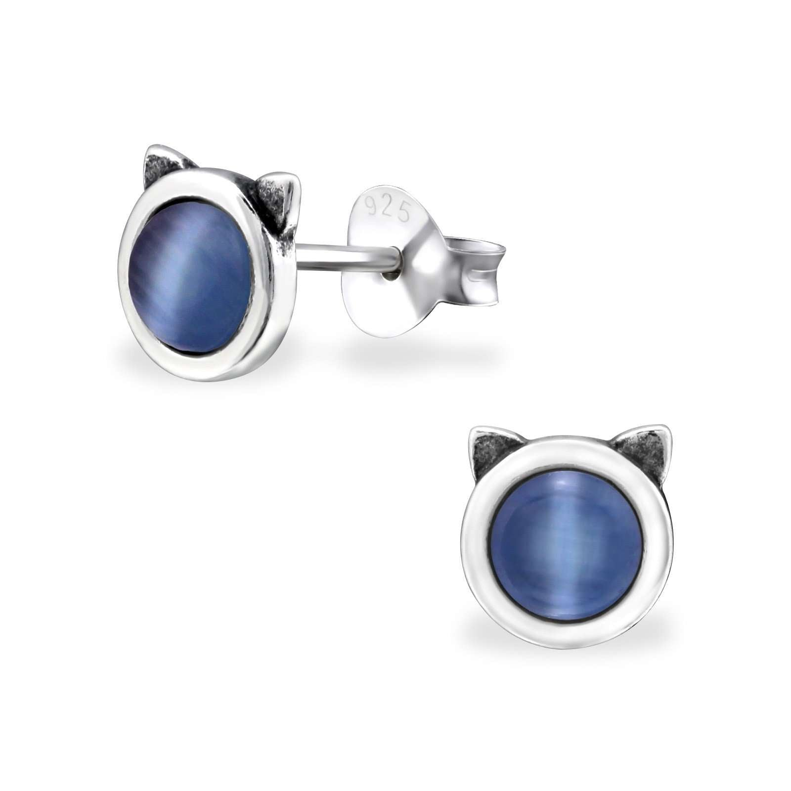 Tiny Blue Calcedony Cat Head Stud Earrings - WHYTE QUARTZ