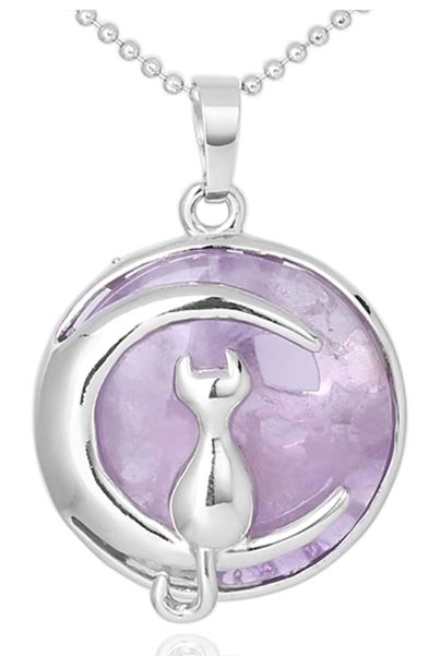 Kitty Cat and the Moon Pendant Necklace - WHYTE QUARTZ