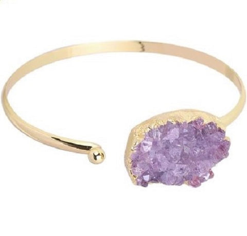 Amethyst and Gold Open Bangle