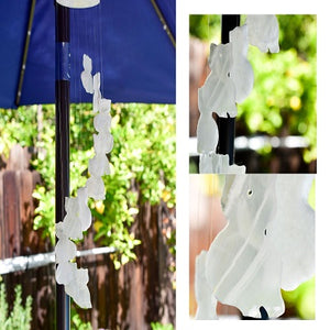 Whyte Quartz Handmade white onyx sitting cat windchime-shows 3 images with closeups of the cats