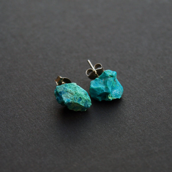 Raw Chrysocolla Stud Earrings