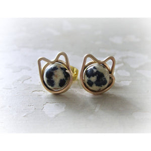 Dalmatian Jasper + Gold Cat Stud Earrings